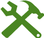 hammer and spanner diagonally crossed into a cross